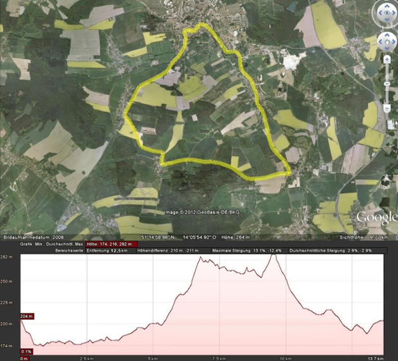 Strecke des Blütenlauf Rennradrennens